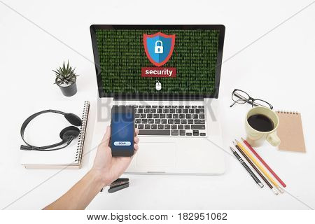 Computer security shielding code. concept cyber protection firewall interface threat.