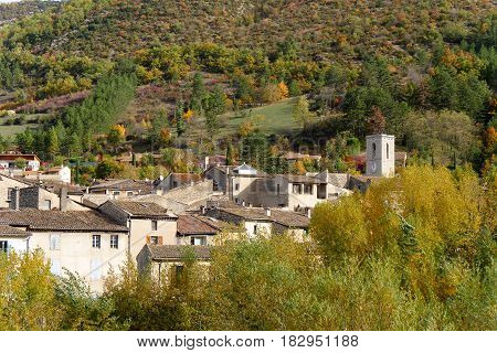 small mountain village at autumn Alps France