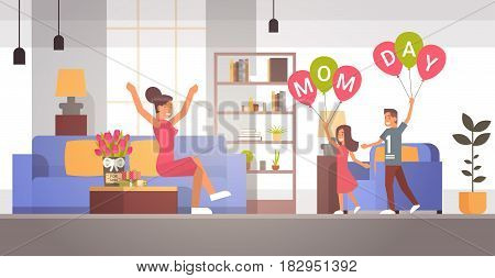 Happy Mother Day, Children Greeing Mom In Living Room Spring Holiday Flat Vector Illustration