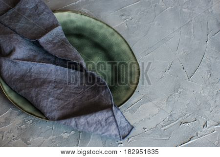 Rustic Flatware On Concrete Background