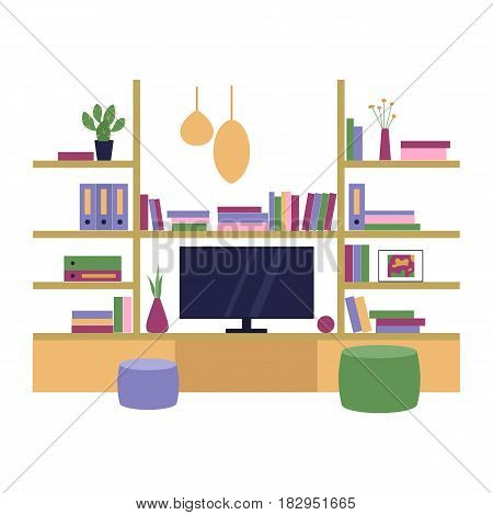 Vector illustration. The interior of the room. Living room with a shelf and TV. Flat style.