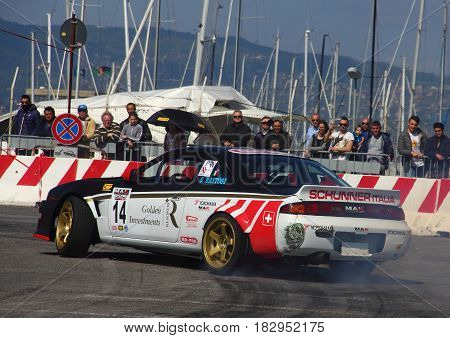 Chiavari Italy - April 22 2017 - 2nd T.A.M. (Tigullio Auto e Moto) National Motor Show: Drifting car show in the fairground area.