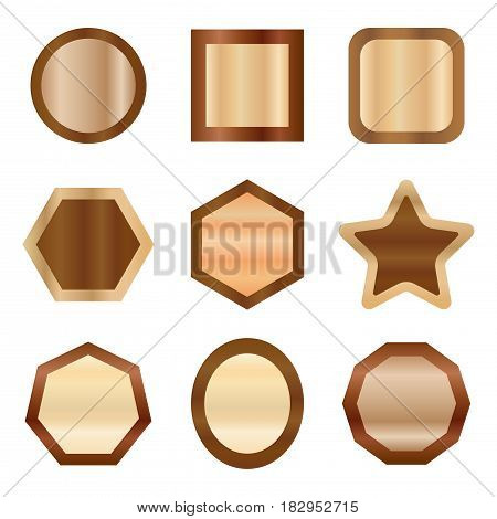 geometric wooden copper frame badge set,vector Illustration EPS10