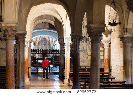 Visitor Inside Of Basilica Di San Zeno In Verona
