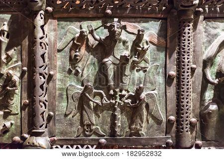 Bronze Panel On Gate In Basilica Di San Zeno