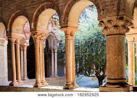 Arcade In Court Of Basilica Di San Zeno In Verona