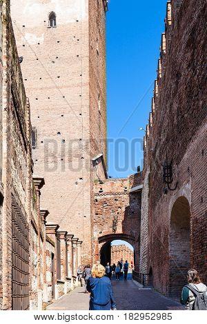 Tourists In Castelvecchio (scaliger) Castle