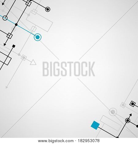 Techno abstract concept digital round square blue and black points background with gray cyber silhouette