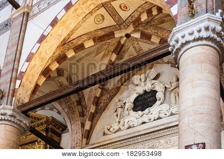 Portal In Chiesa Di Sant Anastasia In Verona City