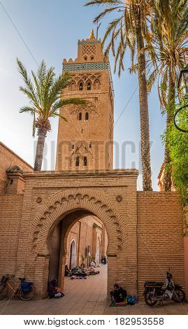 MARRAKESH, MOROCCO - APRIL 1,2017 - Gate near minaret of the Koutoubia Mosque in Marrakesh. Marrakesh is the fourth largest city in the Morocco.