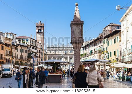People On Urban Market In Verona City