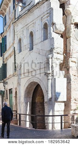 Tourist Near Porta Leoni In Verona City