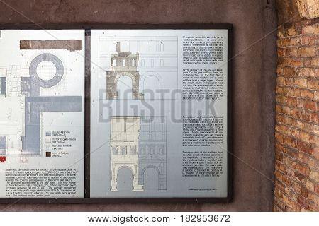 Outdoor Plan Of Ancient Porta Leoni In Verona City