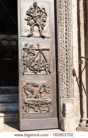 Door Of Chiesa Di San Fermo Maggiore In Verona