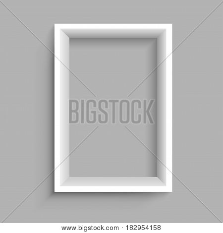 Modern rectangular vertical plastic wooden or paper white shelf with shadow on gray background. Frame furniture design