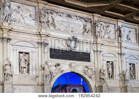 Wall Decor Of Stage Of Teatro Olimpico In Vicenza