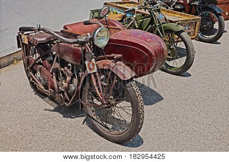 LUGO, RA, ITALY - JUNE 7: vintage sidecar motorcycle Indian Scout Side 600 cc (1923) exposed at festival