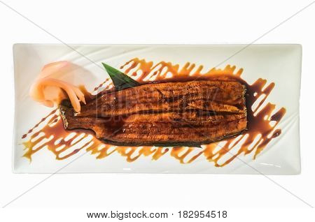 Japanese Grilled eel with teriyaki sauce unagi with pickled ginger white background