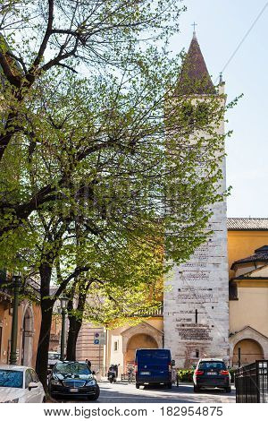 Bell Tower Of Chiesa Di San Lorenzo In Verona City