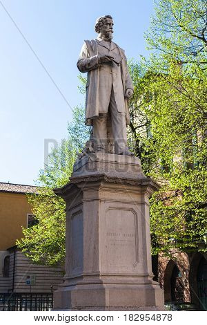Monument Of Aleardo Aleardi In Verona City