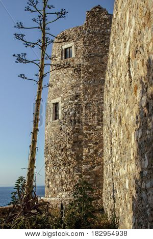 Tower at castle of  Naxos Island - Cyclades