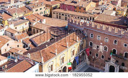Above View Of Piazza Dei Signori In Verona