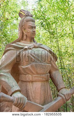 Sichuan, China - Mar 28 2015: Bao Sanniang Statue At Zhaohua Ancient Town. A Famous Historic Site In