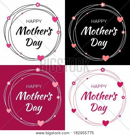 Happy Mothers Day Vector Lettering Set with heart shape and flowers. Mother's Day Card with scribble circle frame.