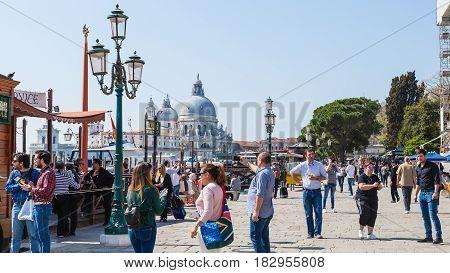 Tourist On Waterfront Riva Degli Schiavoni