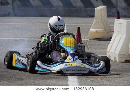 Chiavari Italy - April 22 2017 - 2nd T.A.M. (Tigullio Auto e Moto) National Motor Show: Go Kart Show in the circuit circuit area.