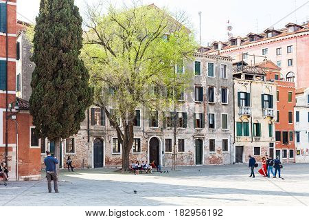 Visitors On Square Campo San Polo In Venice