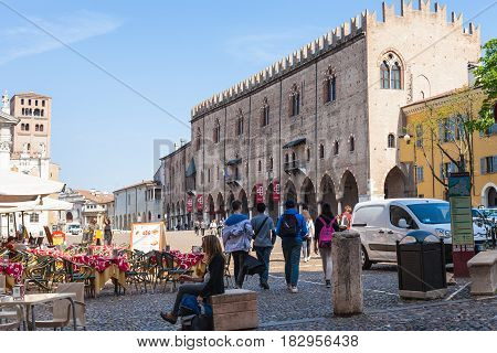 People And Cafe On Piazza Sordello In Mantua