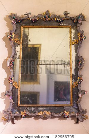 Old Mirror In Ducal Palace Museum In Mantua