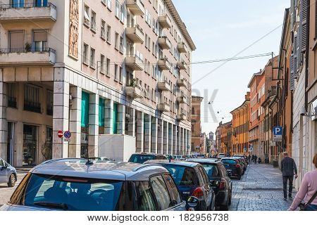 People And Cars On Via Principe Amedeo In Mantua