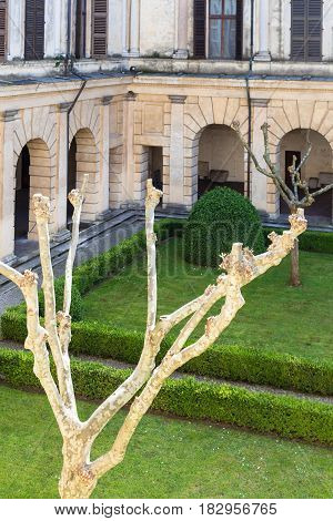 Courtyard In Ducal Palace In Mantua In Spring