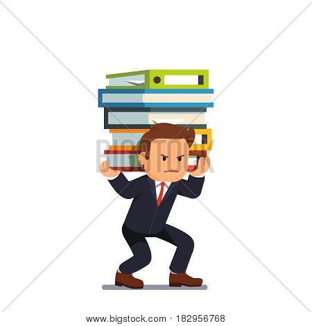 Businessman holding pile of heavy documents, accountant books and binders on his shoulders. Paperwork burden stress. Flat style vector illustration isolated on white background.