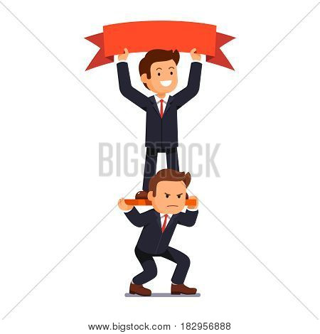 Business man holding red banner ribbon over head standing on a shoulders of his colleague and smiling. Flat style vector illustration isolated on white background.