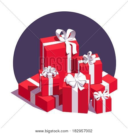 Big pile of wrapped red gift boxes decorated with white ribbon and bows. Lots of holiday presents. Flat style vector illustration isolated on background.