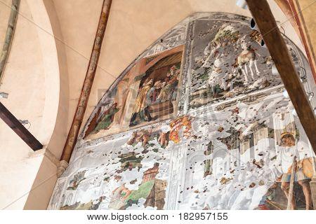 Wall Frescoes In In Church Of Eremitani In Padua