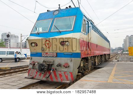Sichuan, China - Jun 08 2015: China Railways Ss7D Electric Locomotive In Chengdu Railway Station, Si
