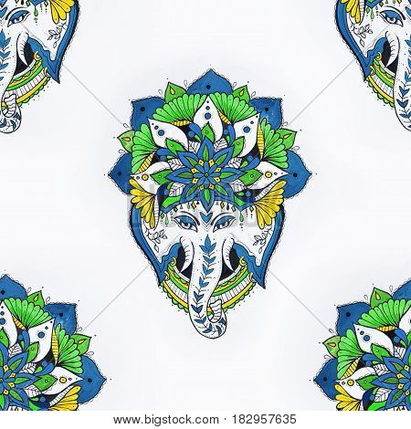 Seamless drawing of an elephant's head in a mandala on white background.