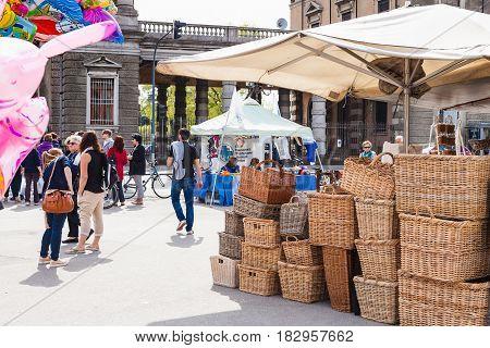 People On Street Market On Prato Della Valle