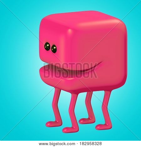 Funny monster smiling red cube on legs. Cute emoticon character. 3D illustration.