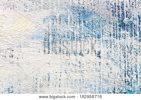 Abstract Hand Painted Canvas Background With White Brush Strokes On Blue Background