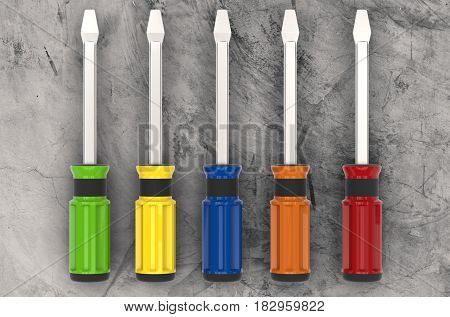 3d rendering colorful screw drivers top view