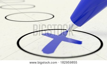 Extreme close up of blue pen crossing off item in a circle checklist voting paper 3D illustration