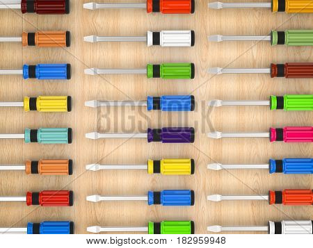 3d rendering colorful screw drivers on wood background