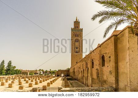 View at the Koutoubia Mosque with minaret in Marrakesh Morocco