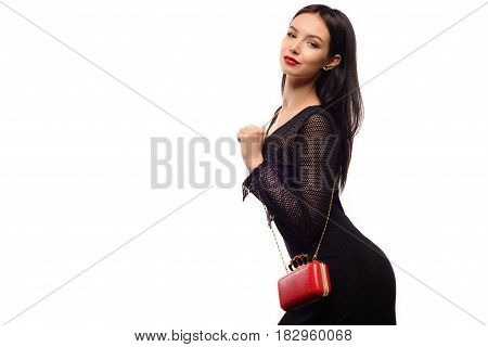 Celebration Disco And Evening Fashion Concept. Woman In Black Dress Holding Red Handbag Purse