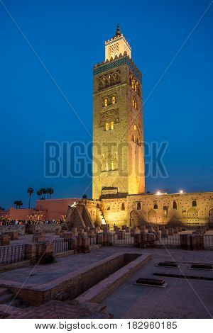 Evening view at the Koutoubia Minaret in Marrakesh Morocco
